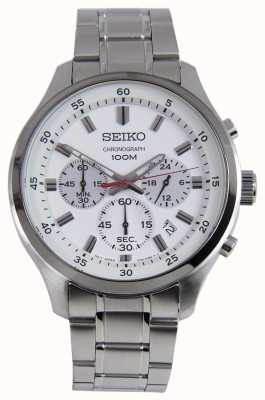 Seiko mens sports chrono watch pulsera de plata esfera blanca SKS583P1