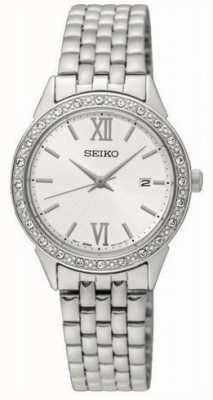 Seiko ladies silver metal bracelet esfera blanca SUR695P1