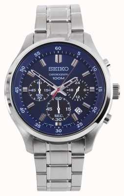 Seiko Mens sprts chrono watch pulsera de plata esfera azul SKS585P1