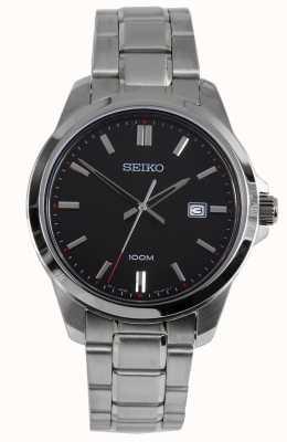 Seiko Reloj para hombre reloj pulsera de plata esfera negra SUR245P1
