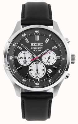 Seiko Reloj deportivo cronógrafo para hombre correa de cuero negro esfera negra SKS595P1