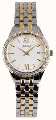 Seiko Reloj de mujer con dos tonos plateados y dorados SUR690P1