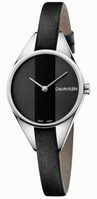 Calvin Klein Reloj de mujer correa rebelde cuero negro fino K8P231C1