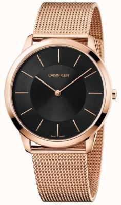 Calvin Klein Mens minimalista oro rosa pulsera de malla reloj negro K3M2T621