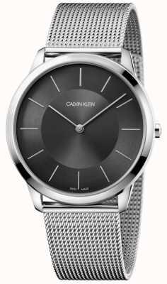 Calvin Klein Mens minimalista pulsera de malla de acero inoxidable reloj de línea negro K3M2T124