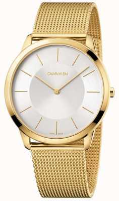 Calvin Klein Reloj de pulsera de malla de oro amarillo de mens minimalista plateado K3M2T526
