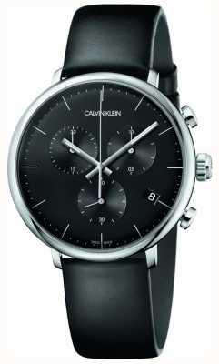 Calvin Klein Reloj de cronógrafo con correa de cuero negro para hombre de mediodía K8M271C1