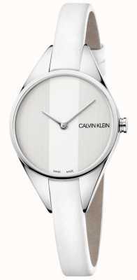 Calvin Klein Reloj de mujer correa rebelde de cuero blanco fino K8P231L6