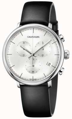 Calvin Klein Reloj de cronógrafo con correa de cuero negro para hombre de mediodía K8M271C6