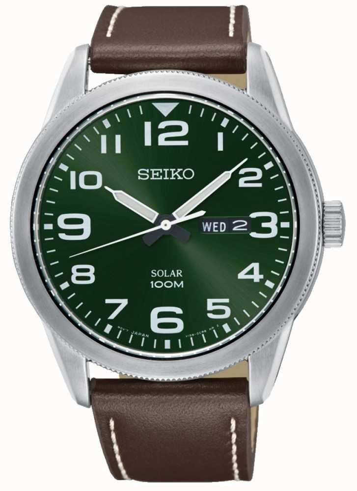 Para Correa Esfera Seiko Verde Reloj Hombre Marrón qMSUzVp