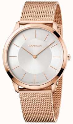 Calvin Klein Mens minimalista oro rosa pulsera de malla reloj de plata K3M2T626