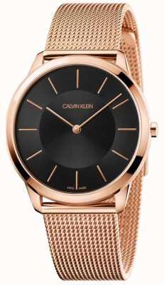 Calvin Klein Mens minimalista oro rosa pulsera de malla reloj negro K3M2162Y