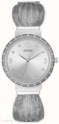 Guess Chiffon womens dsress analogue silver round W1083L1
