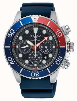 Seiko Correa azul del reloj del cronógrafo solar de los hombres prospex mar SSC663P1