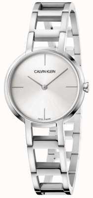 Calvin Klein Las damas aplauden el reloj plateado de acero inoxidable K8N23146