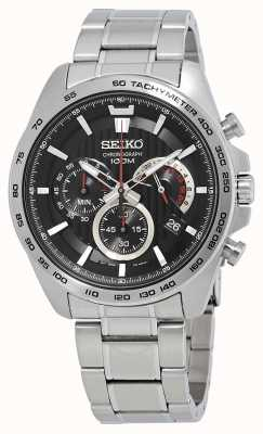 Seiko Reloj cronógrafo para hombre pulsera de plata esfera negra SSB299P1