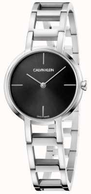 Calvin Klein Las señoras aplauden el reloj plateado negro de acero inoxidable K8N23141