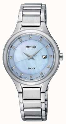 Seiko Pulsera coutura para mujer de plata plateada azul claro SUT351P9