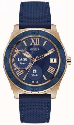 Guess Conecte un reloj digital unisex de oro rosa de 44 mm y azul C1001G2