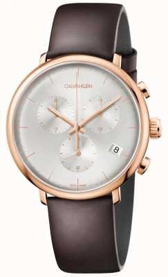Calvin Klein Estuche para hombre de oro rosa de mediodía con correa de cuero marrón K8M216G6