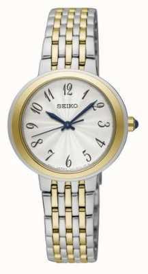 Seiko Reloj de brazalete plateado y dorado con dos tonos para mujer SRZ506P1