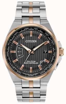 Citizen Mens world perpetual en acero inoxidable y oro rosa ip CB0166-54H