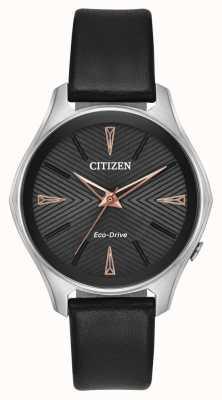 Citizen Reloj de eco-drive Modena de cuero negro para mujer EM0591-01E