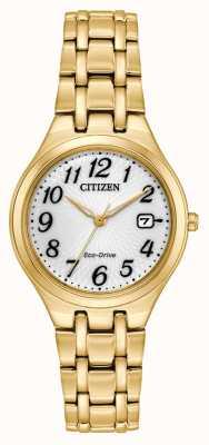 Citizen Reloj de pulsera de corso con placa de oro para dama EW2482-53A
