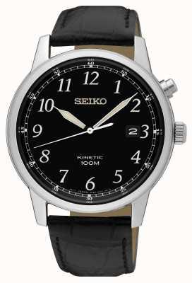 Seiko Correa cinética negra para hombre y reloj de esfera negra. SKA781P1