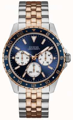 Guess Odyssey mens sport multi silver rose gold round W1107G3