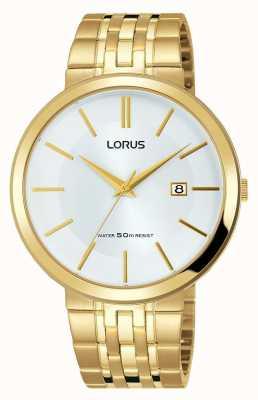 Lorus Reloj para hombre dorado acero inoxidable pulsera esfera blanca RH914JX9