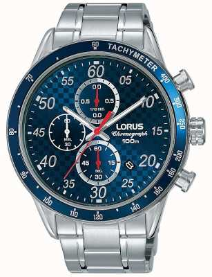 Lorus Reloj cronógrafo para hombre con esfera azul reloj acero inoxidable RM329EX9