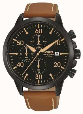 Lorus Reloj cronógrafo plateado iónico para hombre con correa marrón RM349EX9