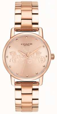 Coach Reloj de pulsera y caja de oro rosa grande para mujer. 14502977