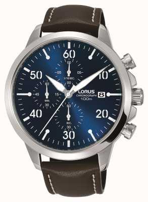 Lorus Reloj cronógrafo para hombre correa de cuero marrón esfera azul RM353EX9