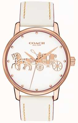 Coach Correa de piel blanca grande para mujer con caja de oro rosa esfera blanca 14502973