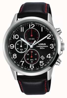 Lorus Reloj cronógrafo para hombre correa de cuero negro esfera negra RM369EX8