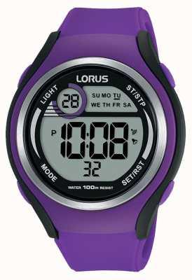 Lorus Unisex lorus rubber digital sports watch purple R2385LX9