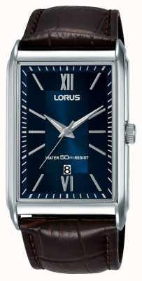 Lorus Reloj rectangular para hombre correa de cuero marrón esfera azul RH911JX9