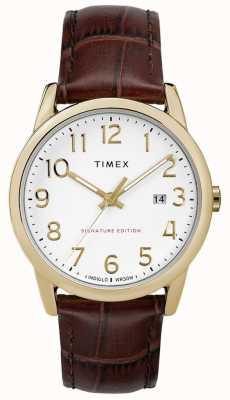 Timex Firma fácil de leer con reloj de cuero con fecha de 38 mm TW2R65100