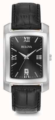 Bulova Correa negra rectangular para hombre clásica 96B269