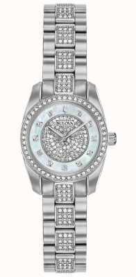 Bulova Conjunto de cristal para mujer de acero inoxidable 96L253
