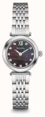 Bulova Cuarzo para mujer de acero inoxidable con diamante 96P169