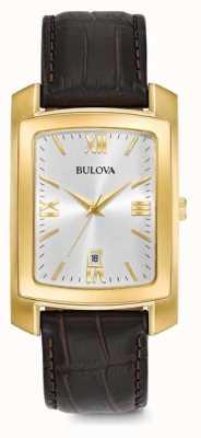 Bulova Correa de cuero marrón para hombre 97B162
