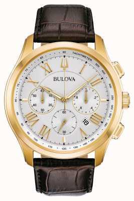 Bulova Correa de cuero marrón clásico para hombres 97B169