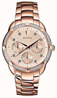 Bulova El | esfera de oro rosa para mujer con diamantes | 98W178