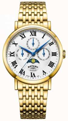 Rotary Mens windsor moonphase reloj chapado en oro pulsera GB05328/01