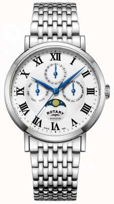 Rotary Mens windsor moonphase watch pulsera de tono plateado GB05325/01