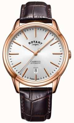 Rotary Mens cambridge ver correa de piel color oro rosa GS05252/02