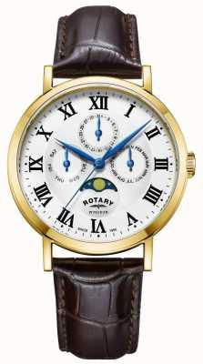 Rotary Reloj para hombre windsor moonphase correa de cuero GS05328/01